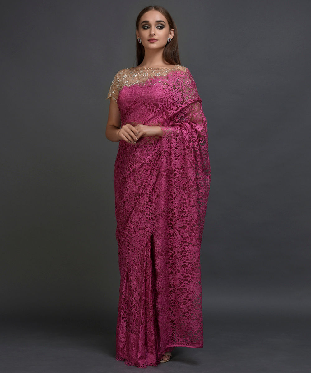 b461a68c08fdb Deep Pink French Chantilly Lace Saree With With Pearl Beaded Blouse