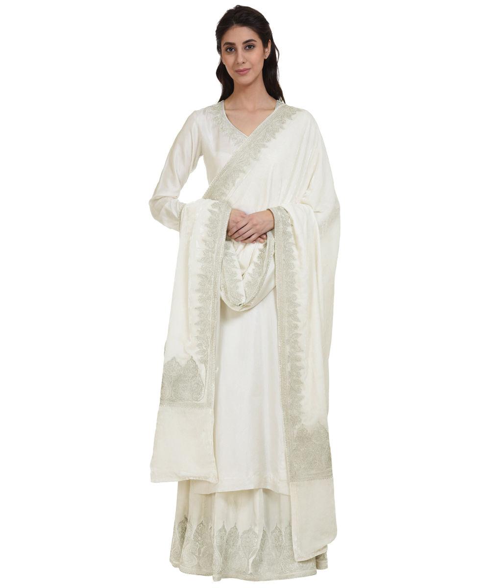 White Silver Tilla Kashmir Aari Embroidered Silk Velvet Lehenga Skirt
