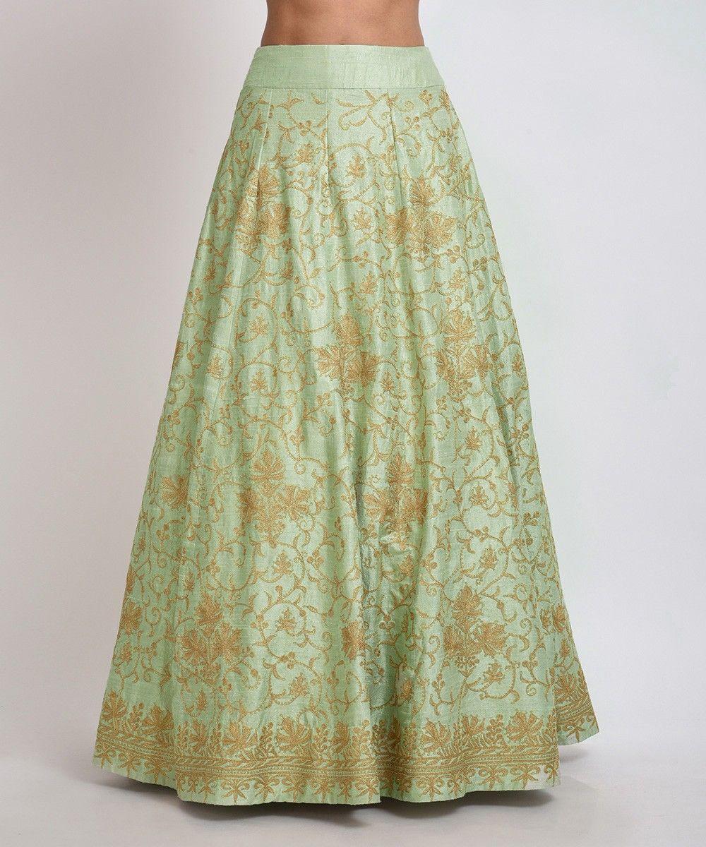 Sage Green Chinar Kashmiri Tilla Embroidered Lehenga Skirt