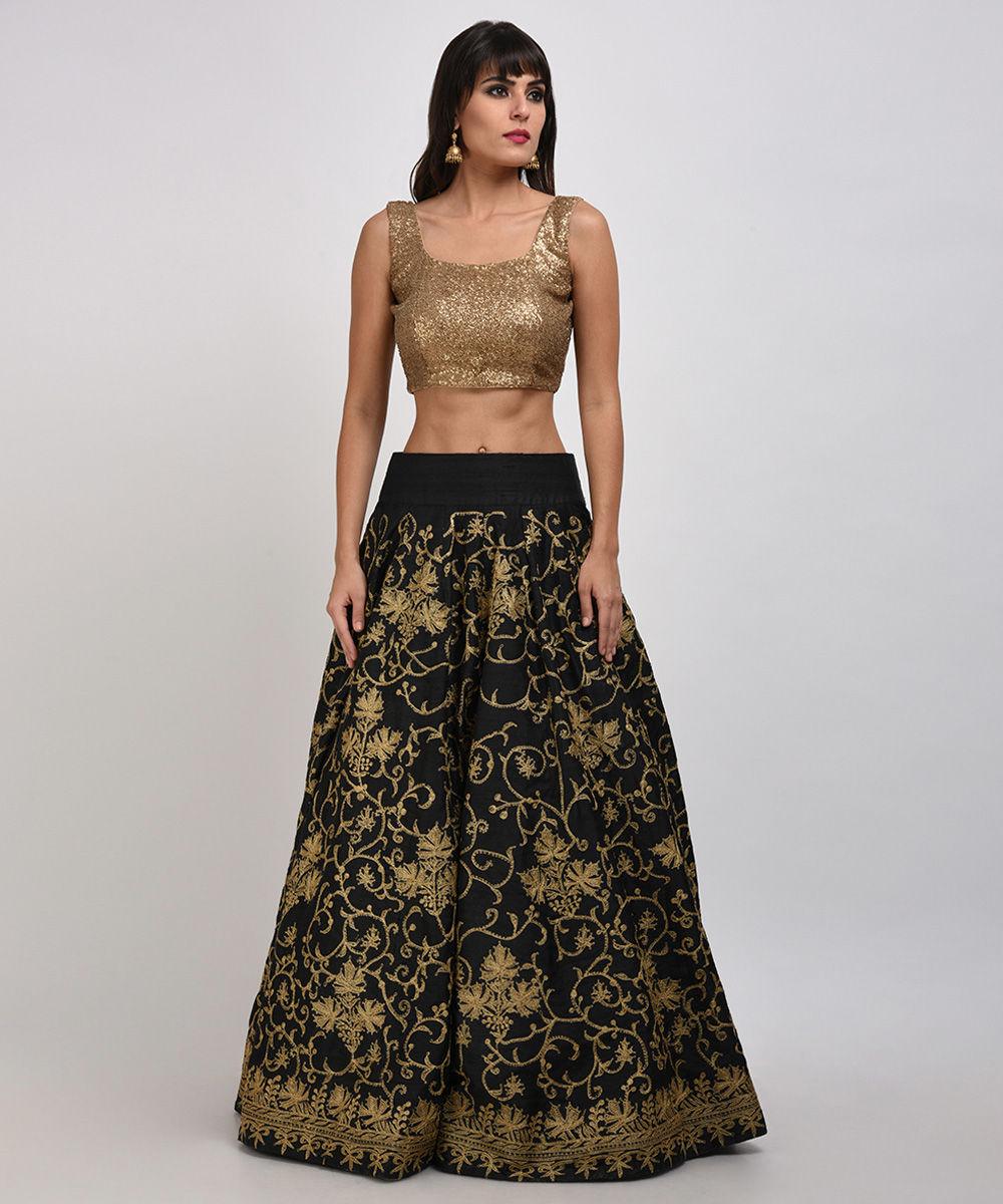 Black Chinar Kashmiri Tilla Embroidered Lehenga Skirt