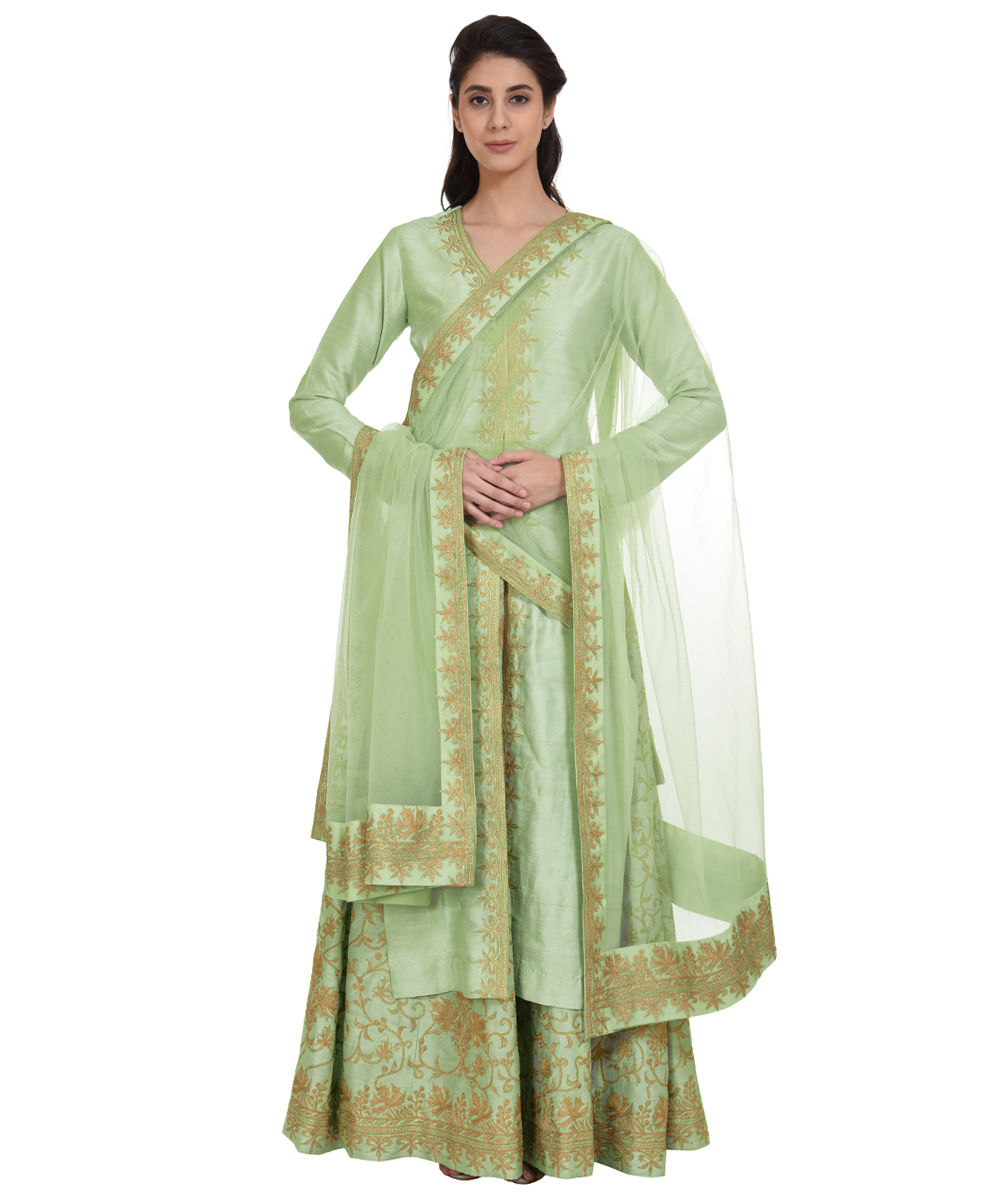 Sage Green Chinar Kashmiri Tilla Embroidered Lehenga Dress