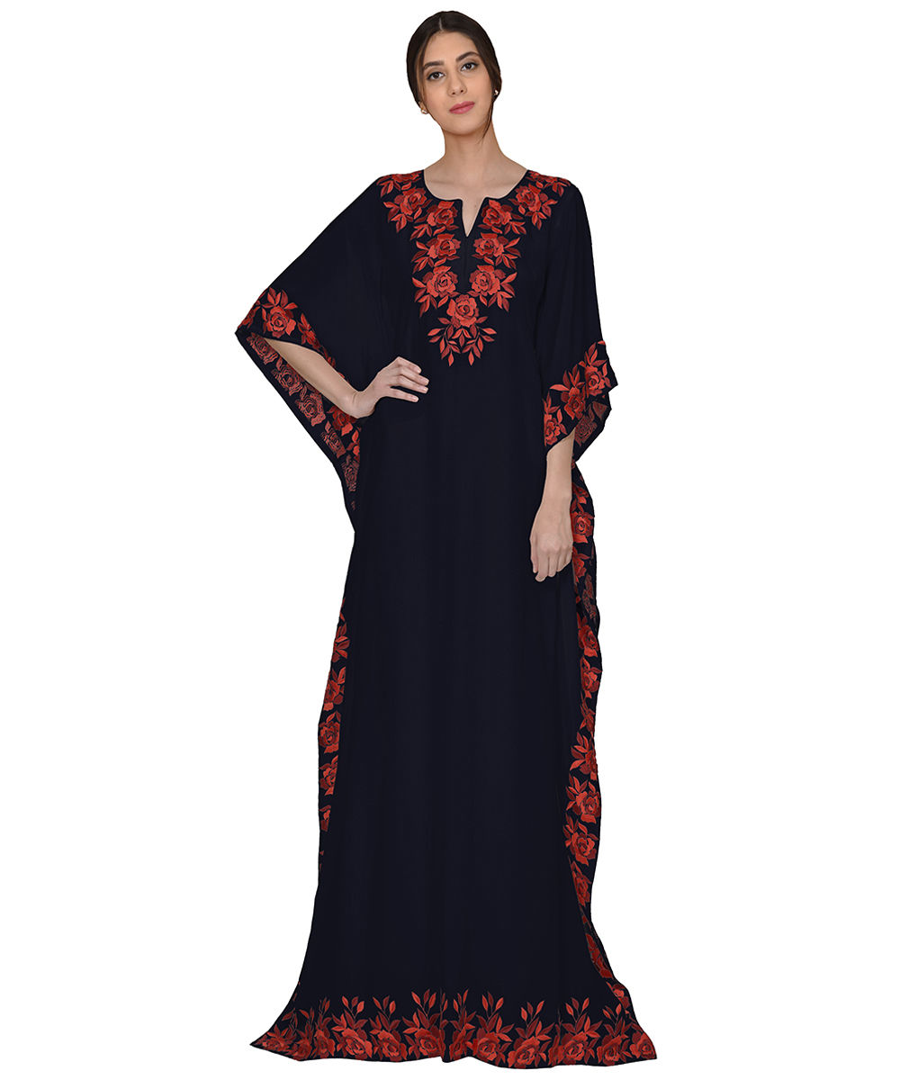 Midnight Blue Parsi Floral Embroidered Kaftan Gown
