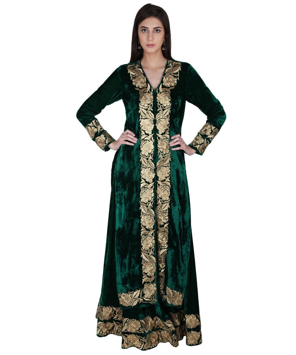 Emerald Green Silk Velvet Kasab Tilla Embroidered Lehenga Skirt