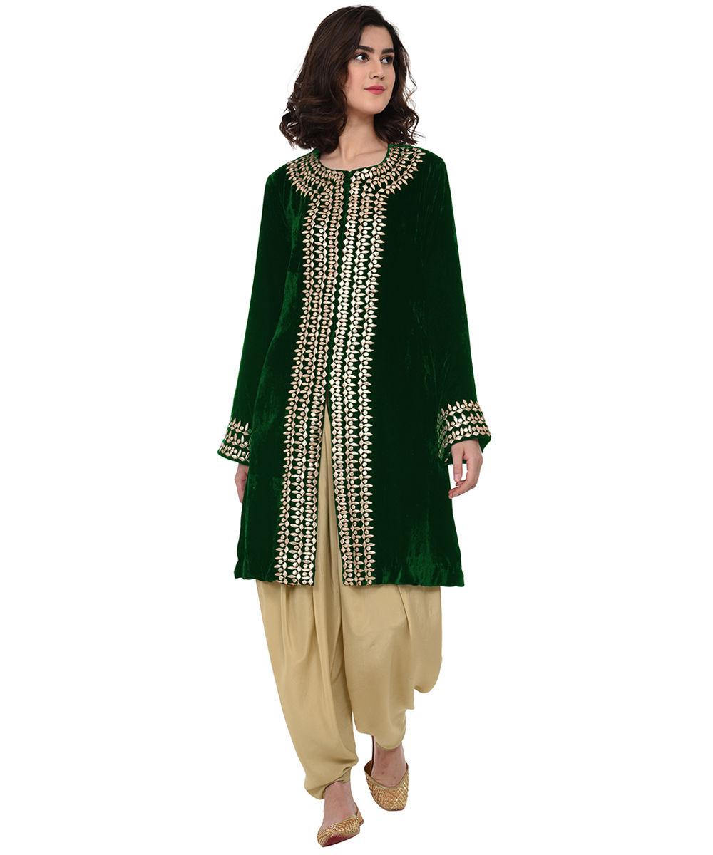 Black gota patti hand embroidered jacket with dhoti salwar