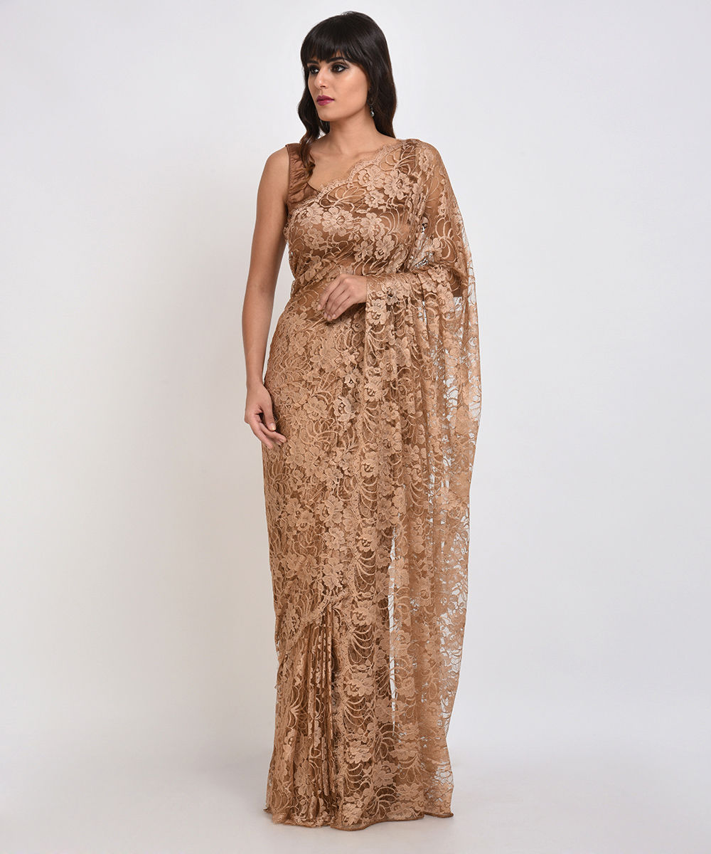 Cinnamon beige french chantilly lace saree with satin crepe blouse aloadofball Gallery