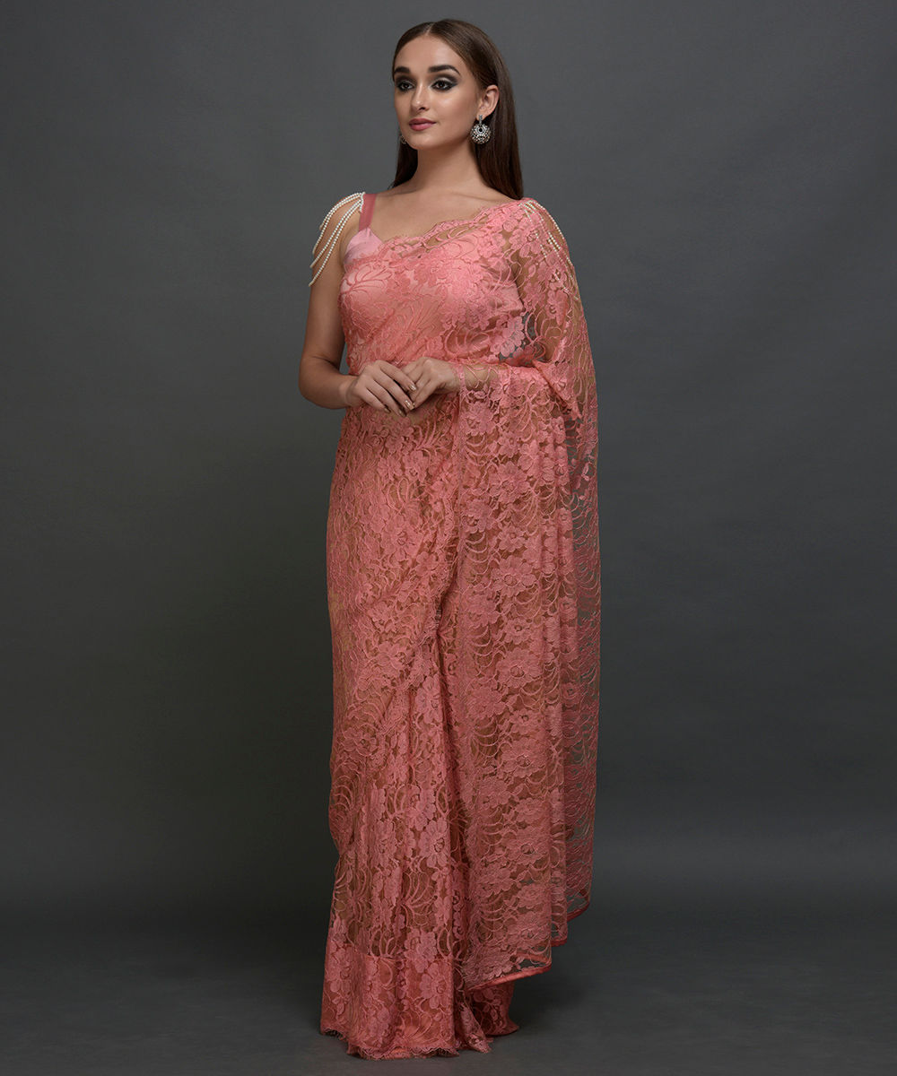 aacd283a20592 Peach-Brown French Chantilly Lace Saree With Pearl Shoulder Necklace Blouse.  Peach-Brown French ...