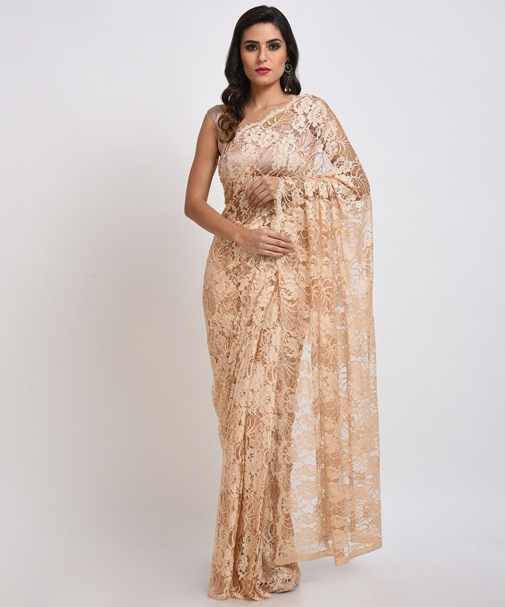 Nude french chantilly lace saree with satin crepe blouse aloadofball Gallery