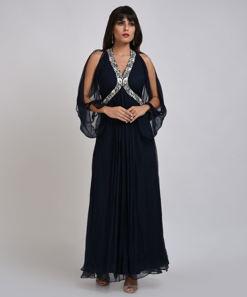 Midnight Blue Silver Zari Embroidered Silk Chiffon Gown