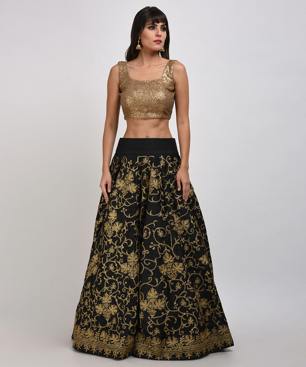 d7a699f3f9e280 Home · Gold Sequin Embroidered Crop Top with Tilla Embroidered Lehenga  Skirt. ×. Close. Zoom · Gold ...