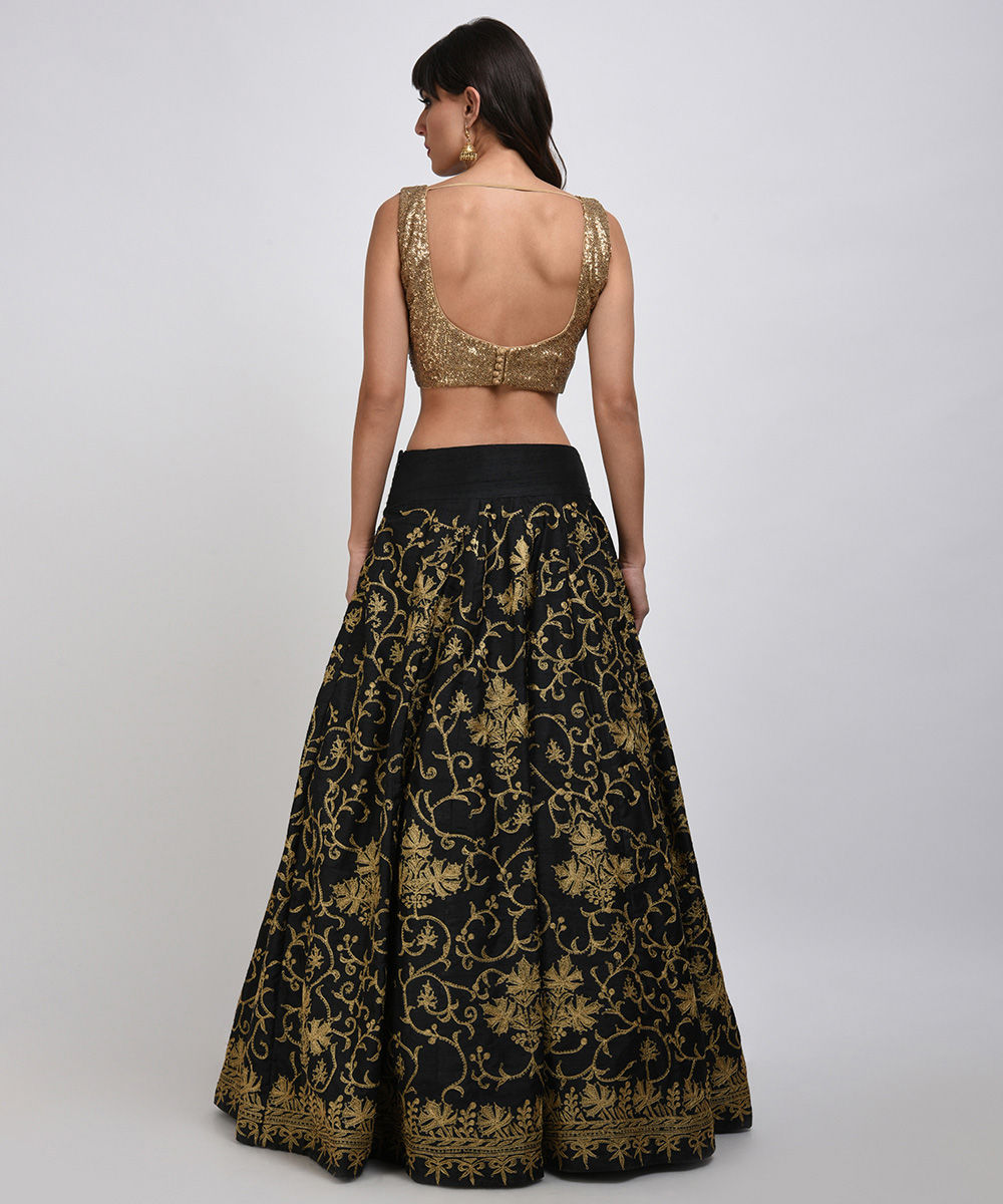 9be8c3cd6f409d Gold Sequin Embroidered Crop Top with Tilla Embroidered Lehenga Skirt