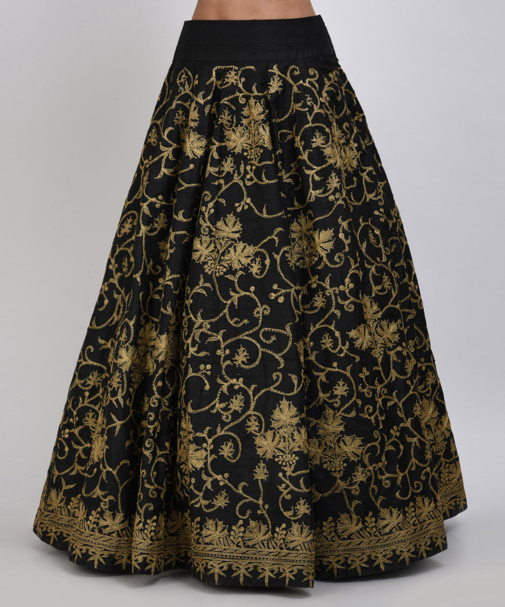 Gold Sequin Embroidered Crop Top With Tilla Embroidered Lehenga Skirt