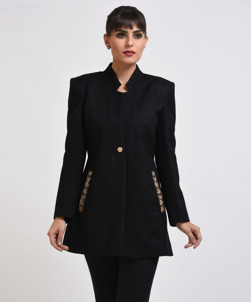 Black pure wool jacket with gota patti hand embroidered detail
