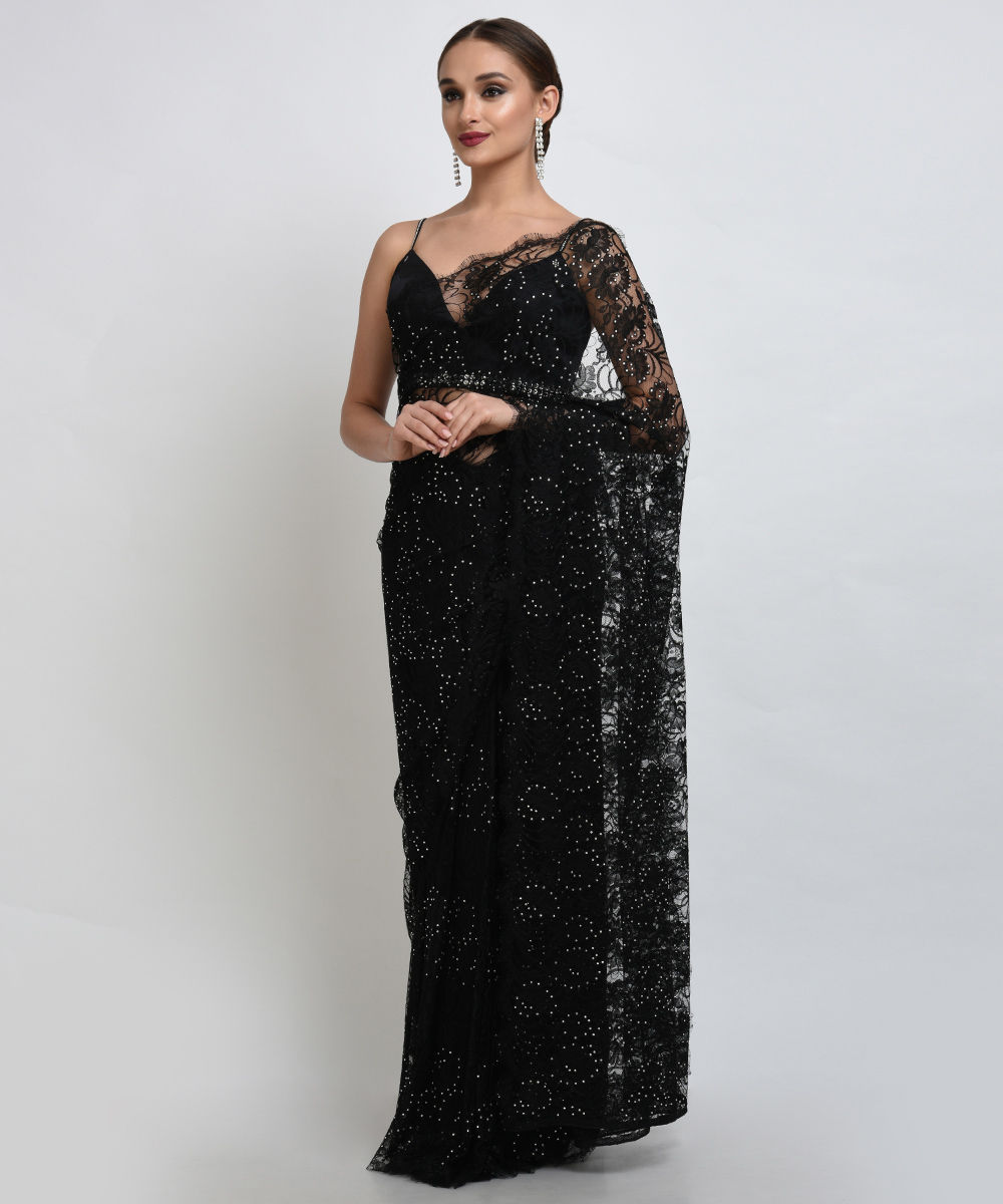 Black french chantilly lace swarovski crystal saree and blouse aloadofball Gallery