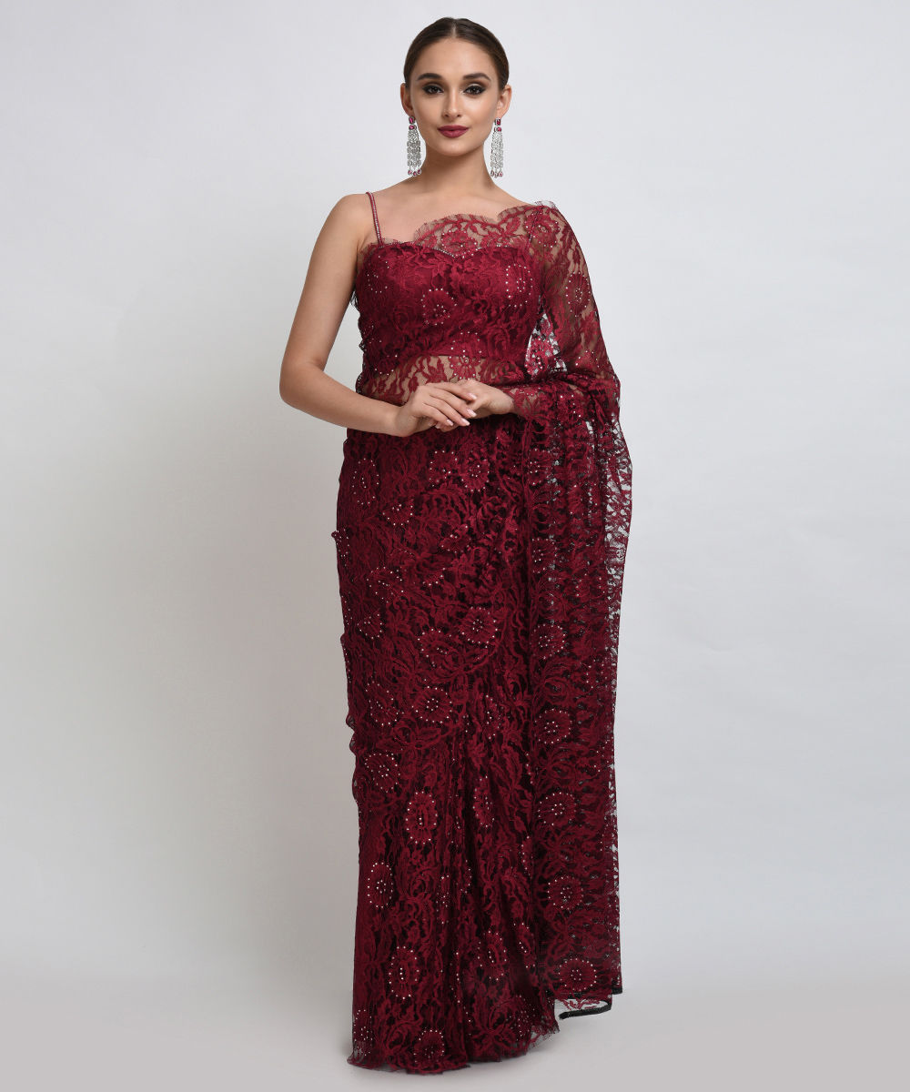 Maroon black french chantilly lace swarovski crystal saree and blouse aloadofball Choice Image