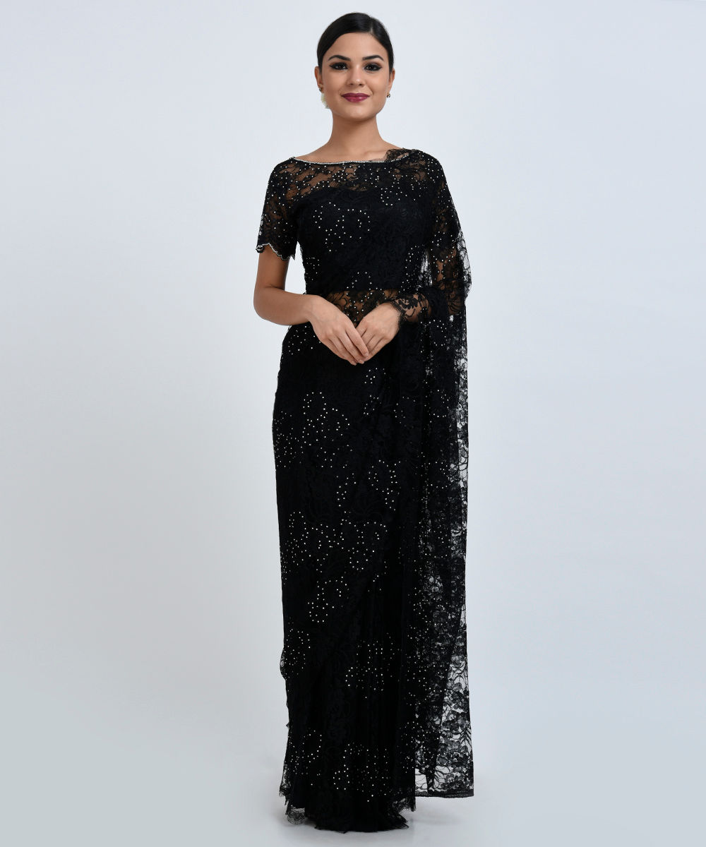 32f9f43bc501c Black French Chantilly Lace Swarovski Crystal Saree and Blouse ...