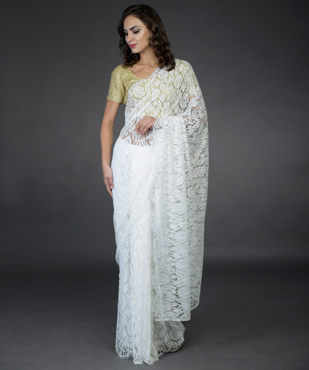 61bd2829912ca Ivory French Chantilly Lace Saree with Zardozi Work Blouse · Ivory French Chantilly  Lace Saree with Zardozi Work Blouse Ivory French ...