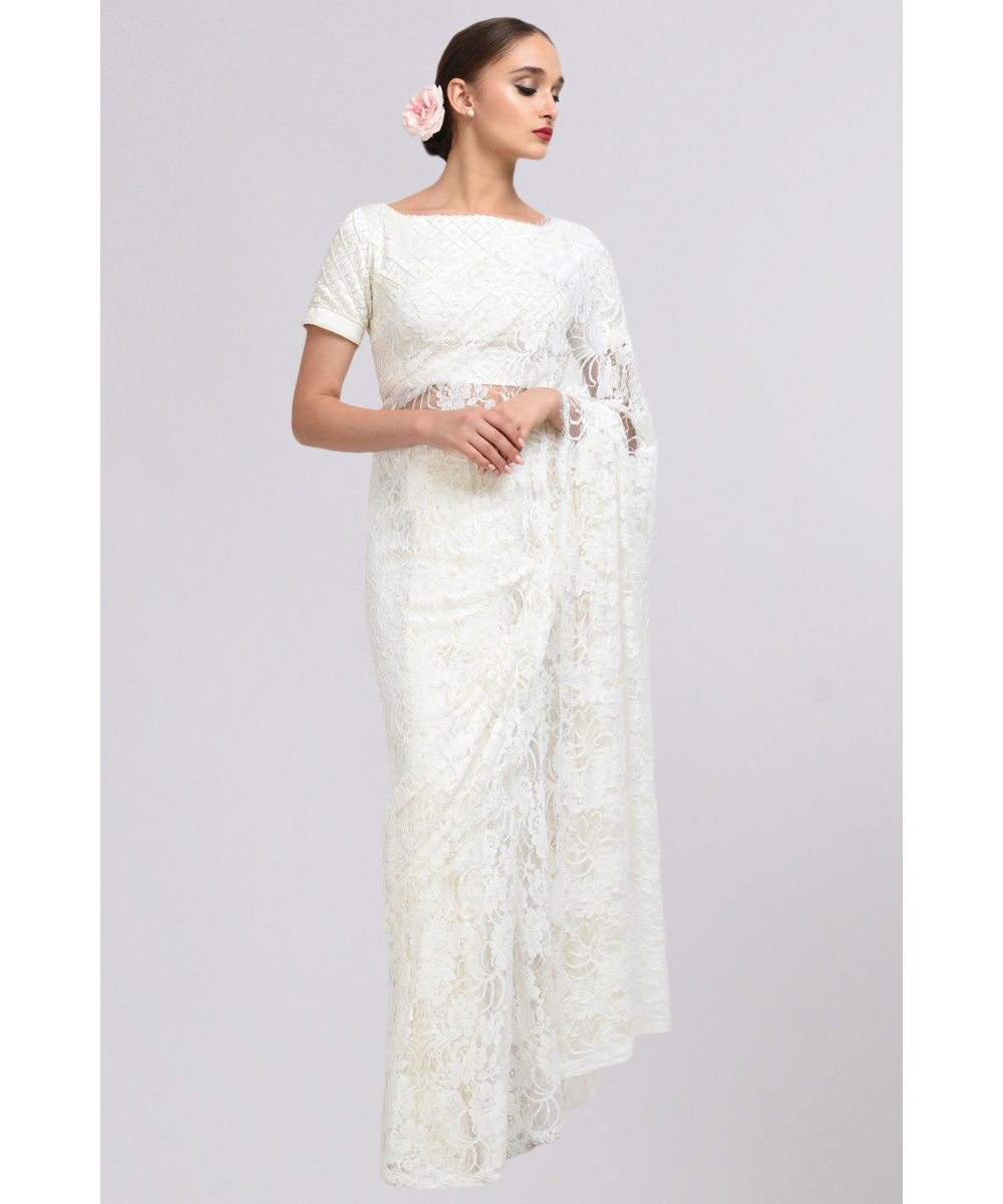 c8c5caea152ef Ivory French Chantilly Lace Saree With Pearl Hand Embroidered Blouse ·  Ivory French Chantilly Lace ...