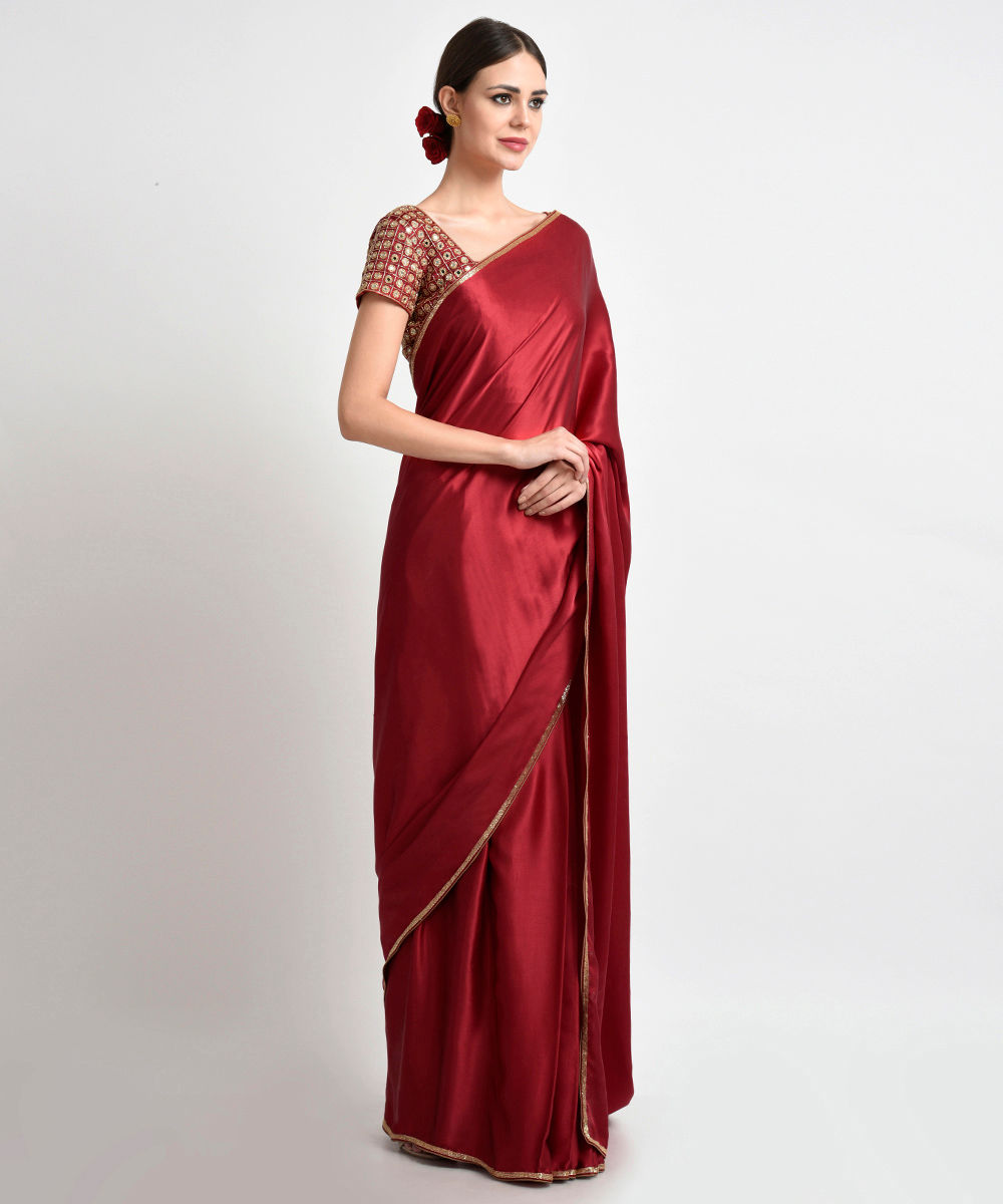 c8aaaf6041 ... Blouse On Pinterest · Red Mirror Work Sarees: Royal Red Mirror Work And  Zardozi Hand Embroidered Saree