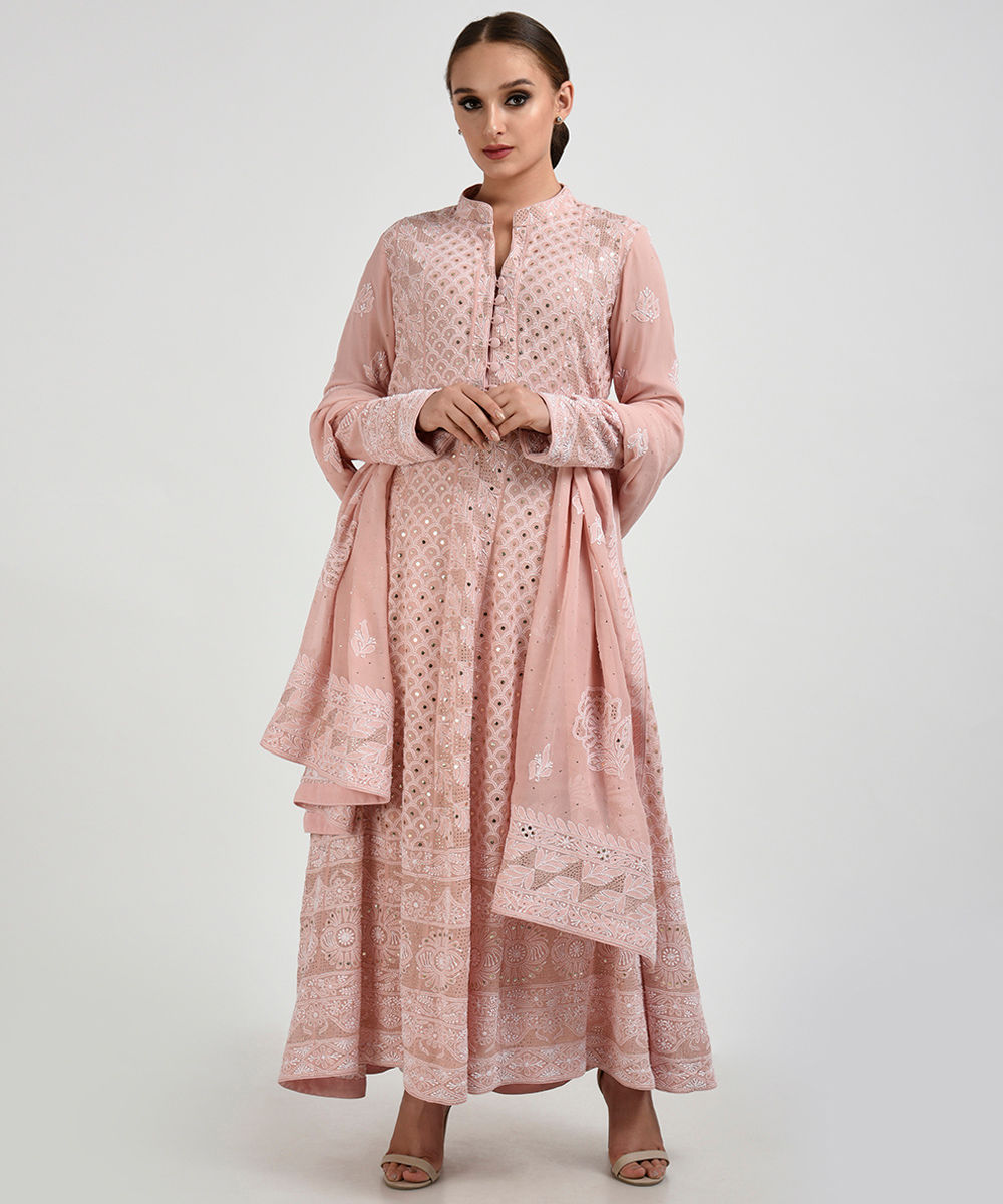 pearl pink chikankari with kamdani anarkali pure georgette suit