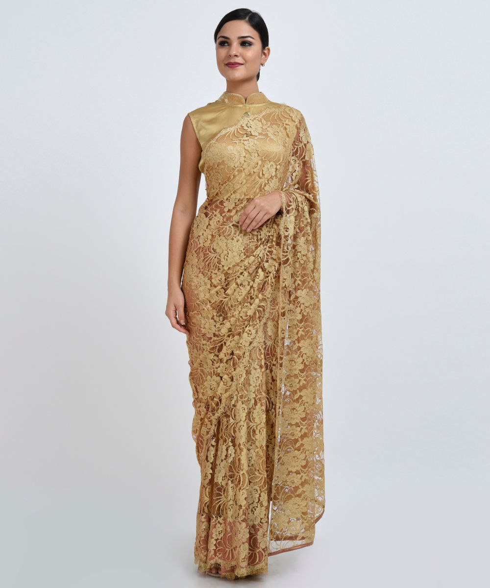 Gold french chantilly lace saree with satin crepe blouse aloadofball Gallery