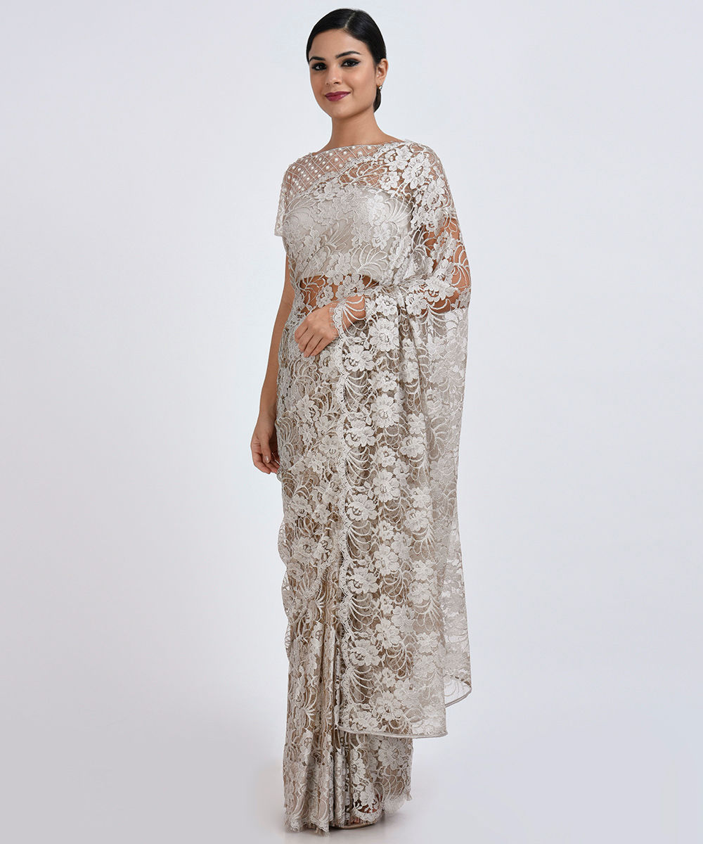 b907634c2fa91 Beige French Chantilly Lace Saree With Zardozi   Pearl Beaded Blouse. Beige  French Chantilly Lace ...