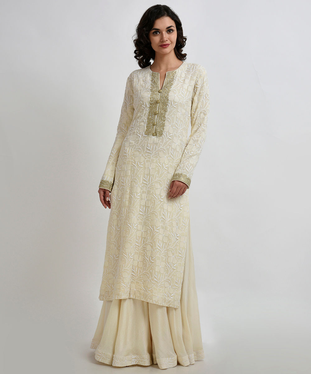 e432da925f Buy Pink With White Net Embroidered Sharara Suit Online · Sharara Suit:  Ivory Chikankari And Kashmiri Gold Tilla Sharara Suit