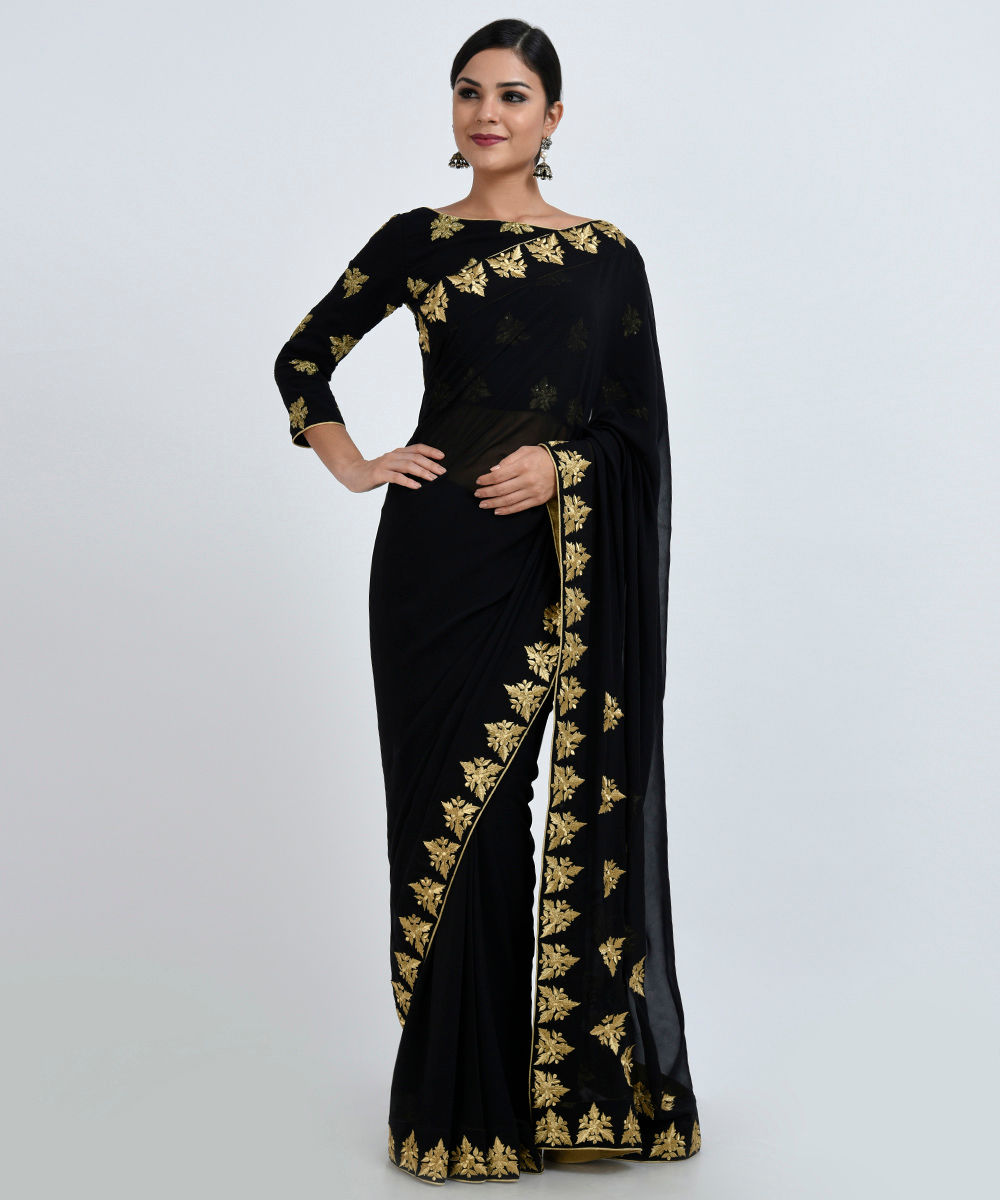 Black And White Living Room Design And Ideas: Gold Zari Embroidered Pure Georgette Saree And Blouse