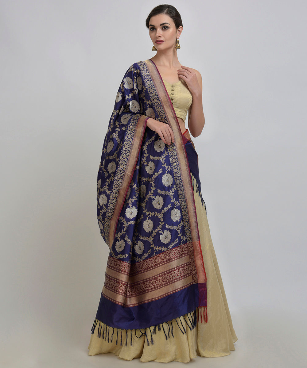 c45dc1b2d6c36 Navy Blue Banarasi Zari Hand Woven Dupatta With Crop Top   Skirt