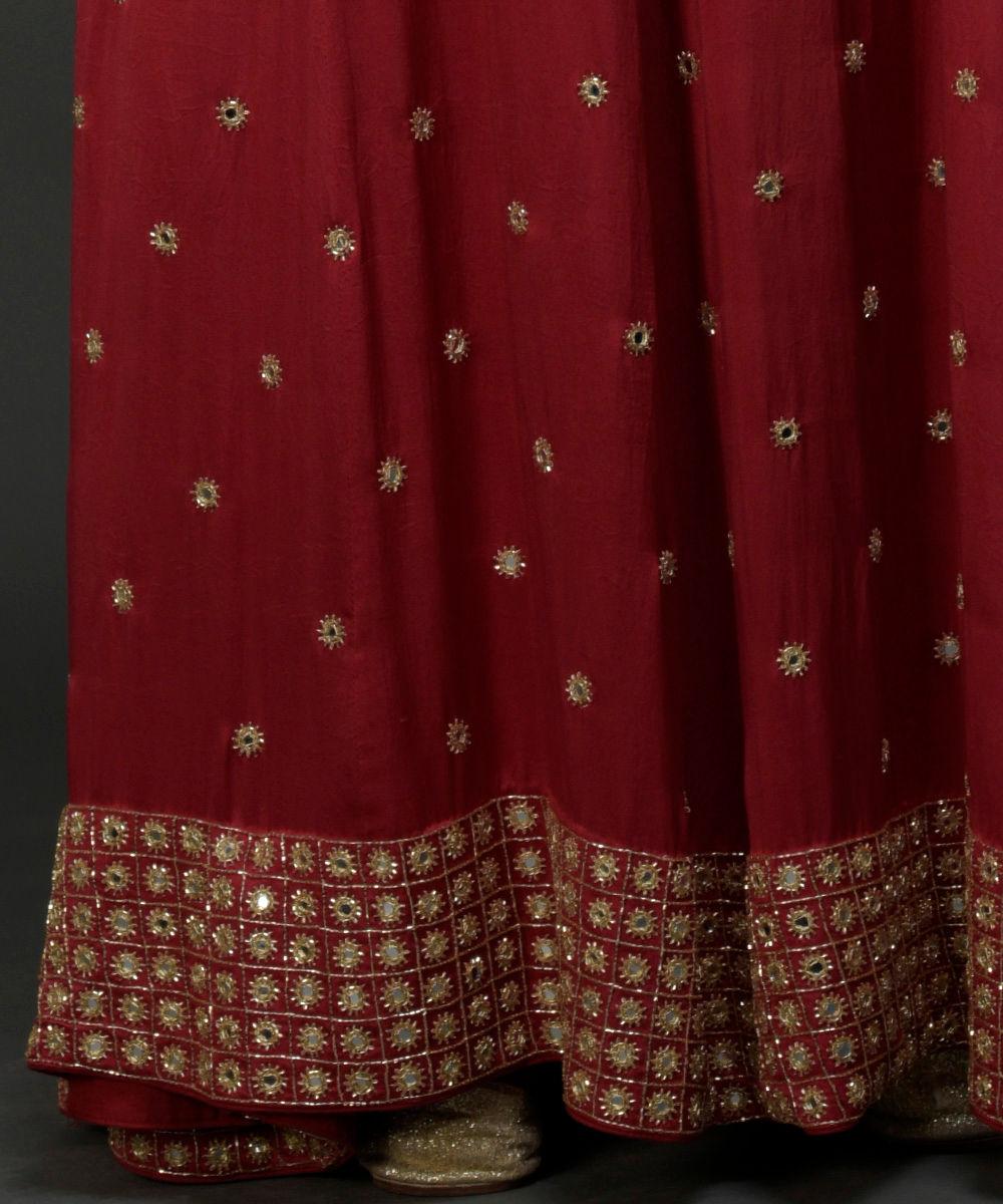 0ee0033dcc1305 Royal Red Mirror Work and Zardozi Hand Embroidered Lehenga Skirt