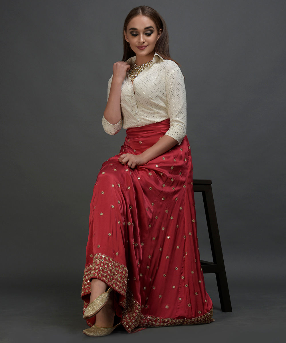 Royal Red Mirror Work And Zardozi Hand Embroidered Lehenga Skirt