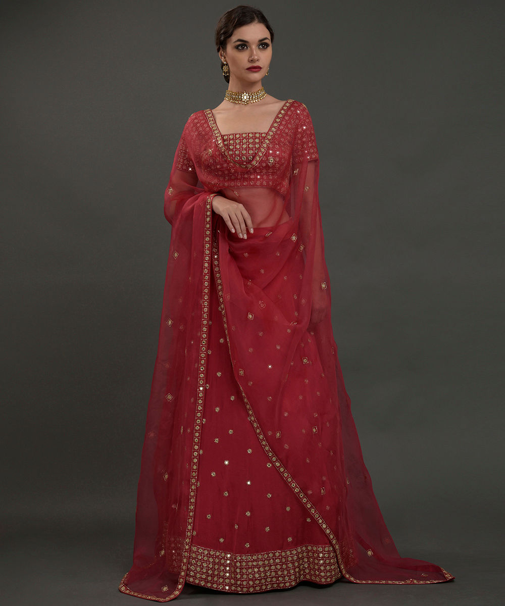 516bea34146d2f Royal Red Mirror Work And Zardozi Hand Embroidered Lehenga Outfit · Royal  Red Mirror Work ...