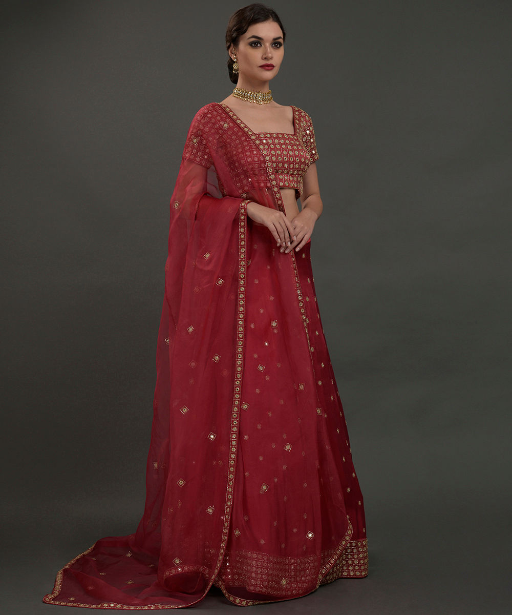 d935385eed1fd6 Royal Red Mirror Work And Zardozi Hand Embroidered Lehenga Outfit