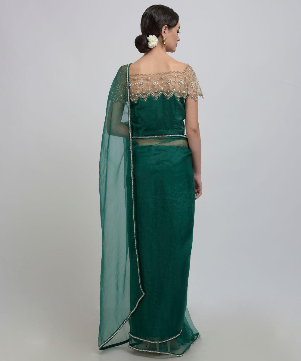 0e96788a17d560 Emerald Green Pearl Beads Hand Embroidered Silk Organza Saree   Blouse