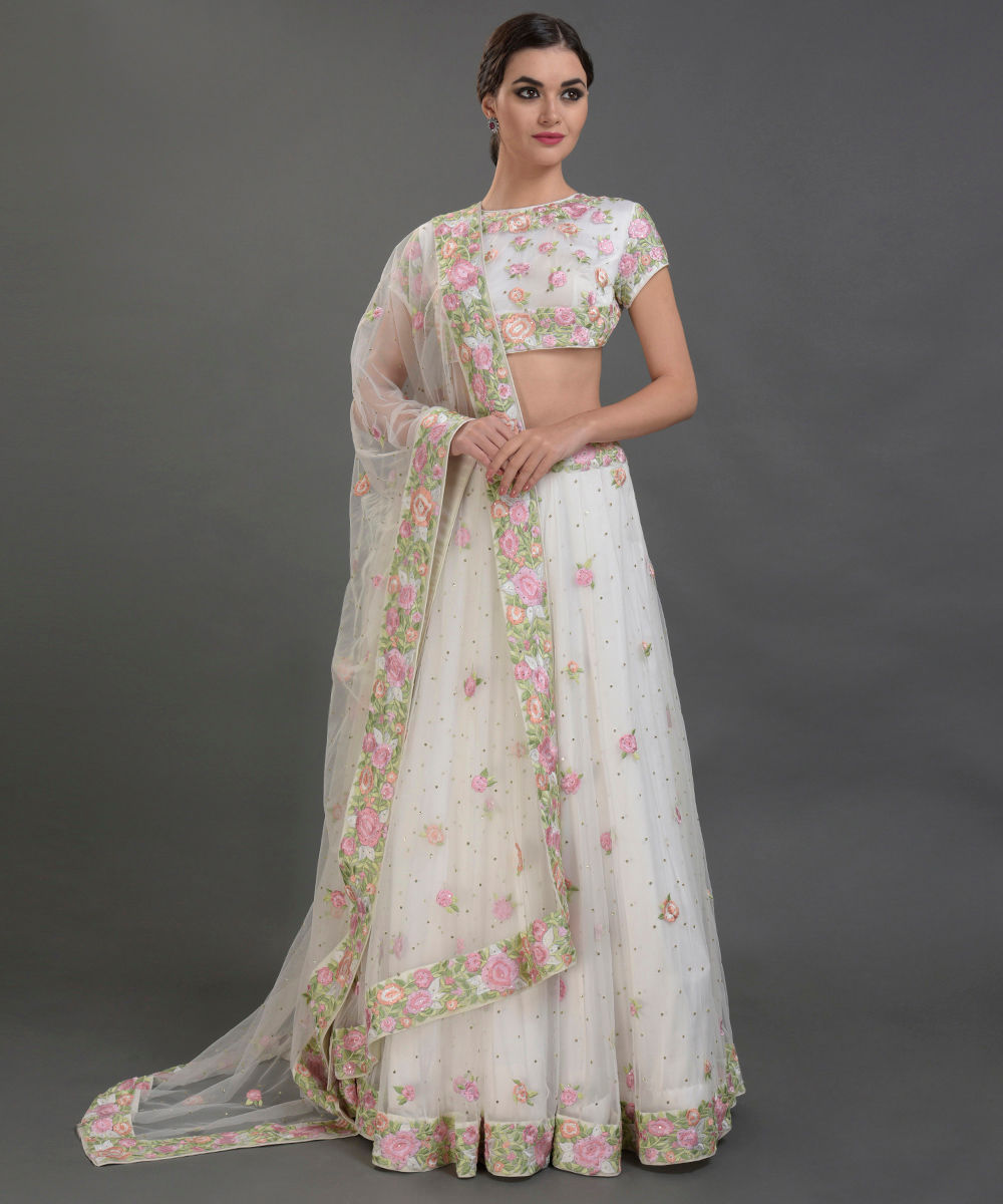 78db07d10bccd8 Pearl White Floral Resham and Sequin Embroidered Lehenga Outfit. Pearl  White Floral Resham and Sequin Embroidered ...