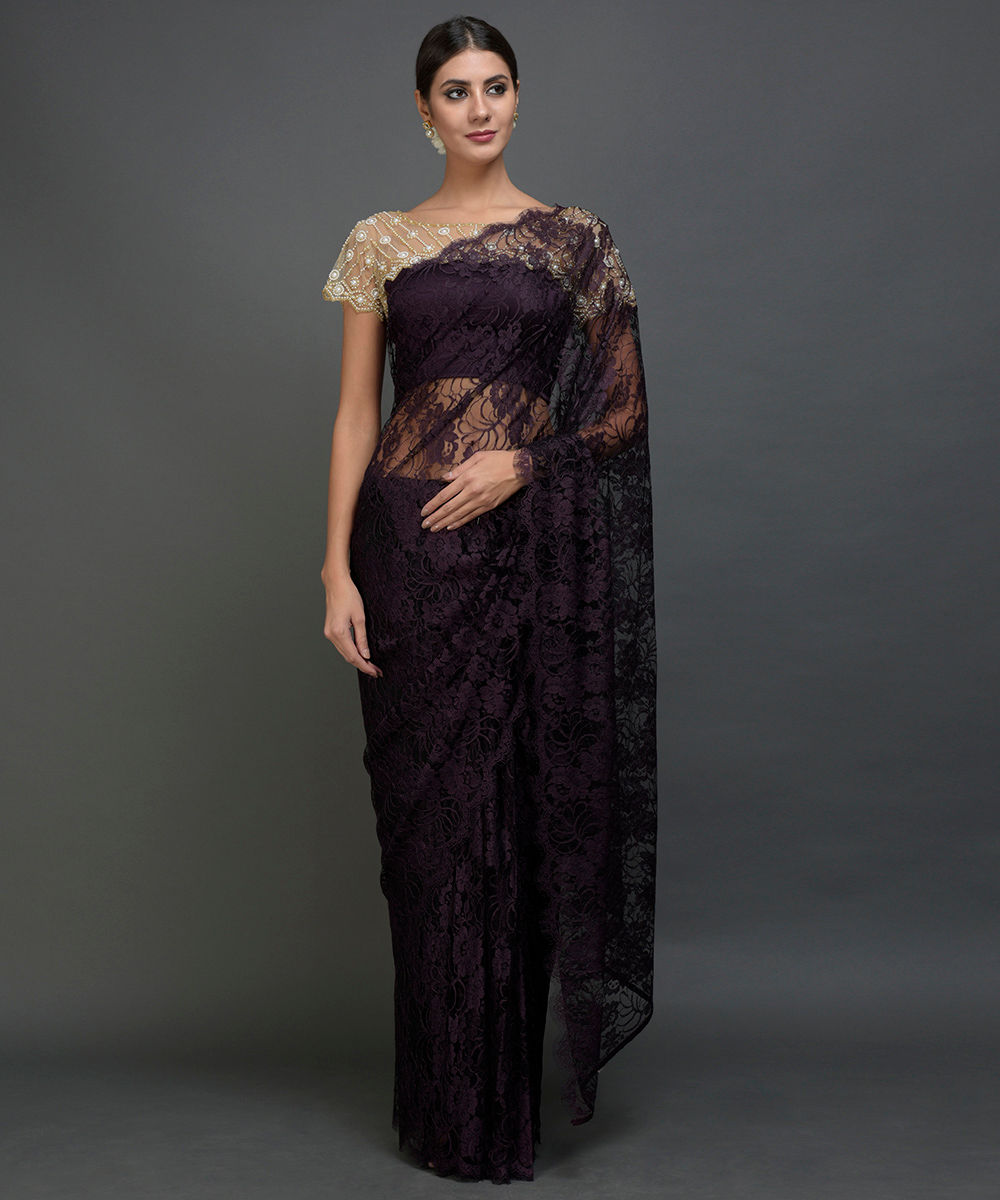 4e3cbd2bce4c9 Eggplant- Black French Chantilly Lace Saree With Pearl Beaded Blouse ...