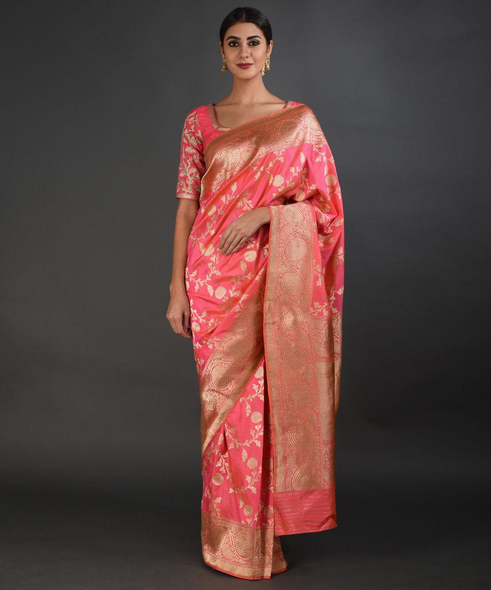586d21109a9080 Pink-Orange Shot Banarasi Zari Handwoven Saree (With Two Blouses)