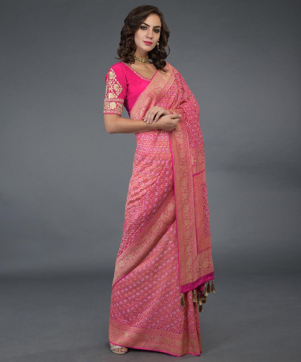 Www Banarasisareeinnepal: Fuscia Ombre Banarasi Zari Bandhej Saree ( With Two Blouses