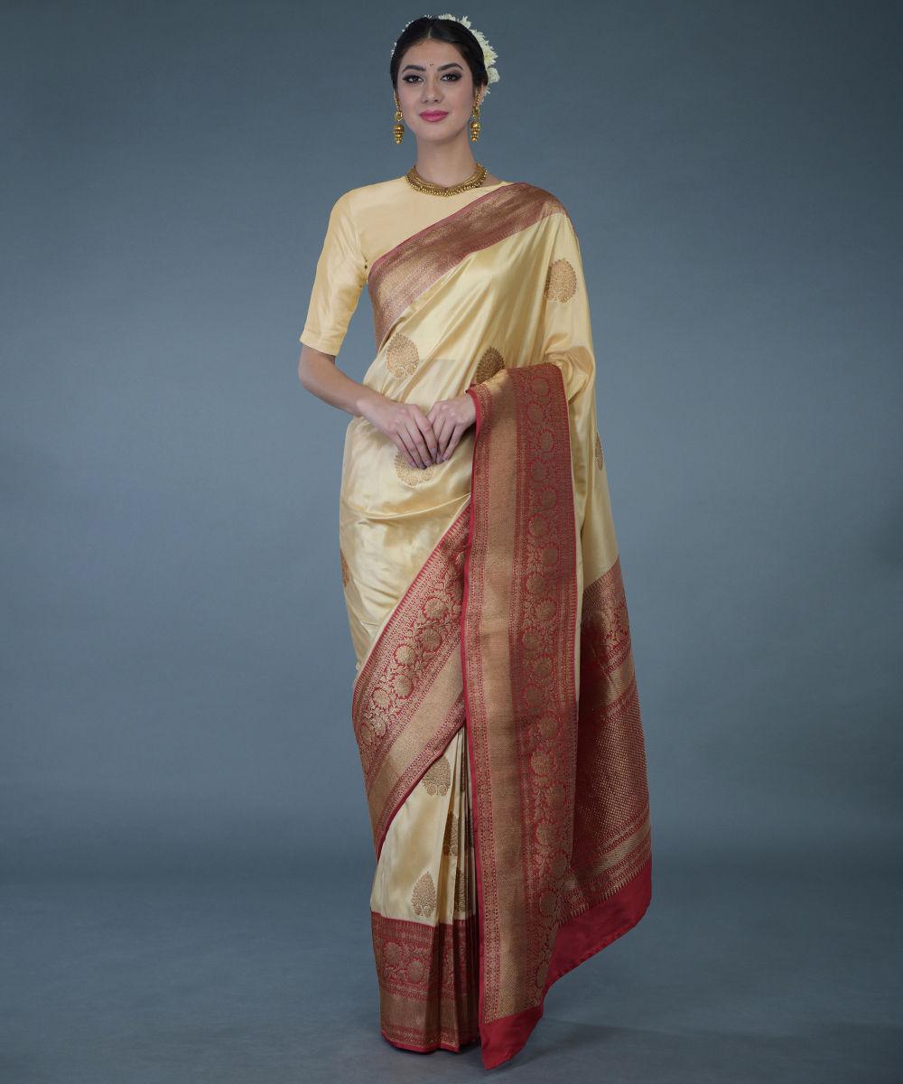 Www Banarasisareeinnepal: Beige Gold- Red Banarasi Zari Handwoven Pure Silk Saree