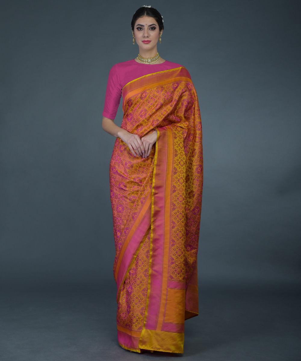 Www Banarasisareeinnepal: Mustard Resham Thread Pure Tanchoi Silk Handwoven Banarasi