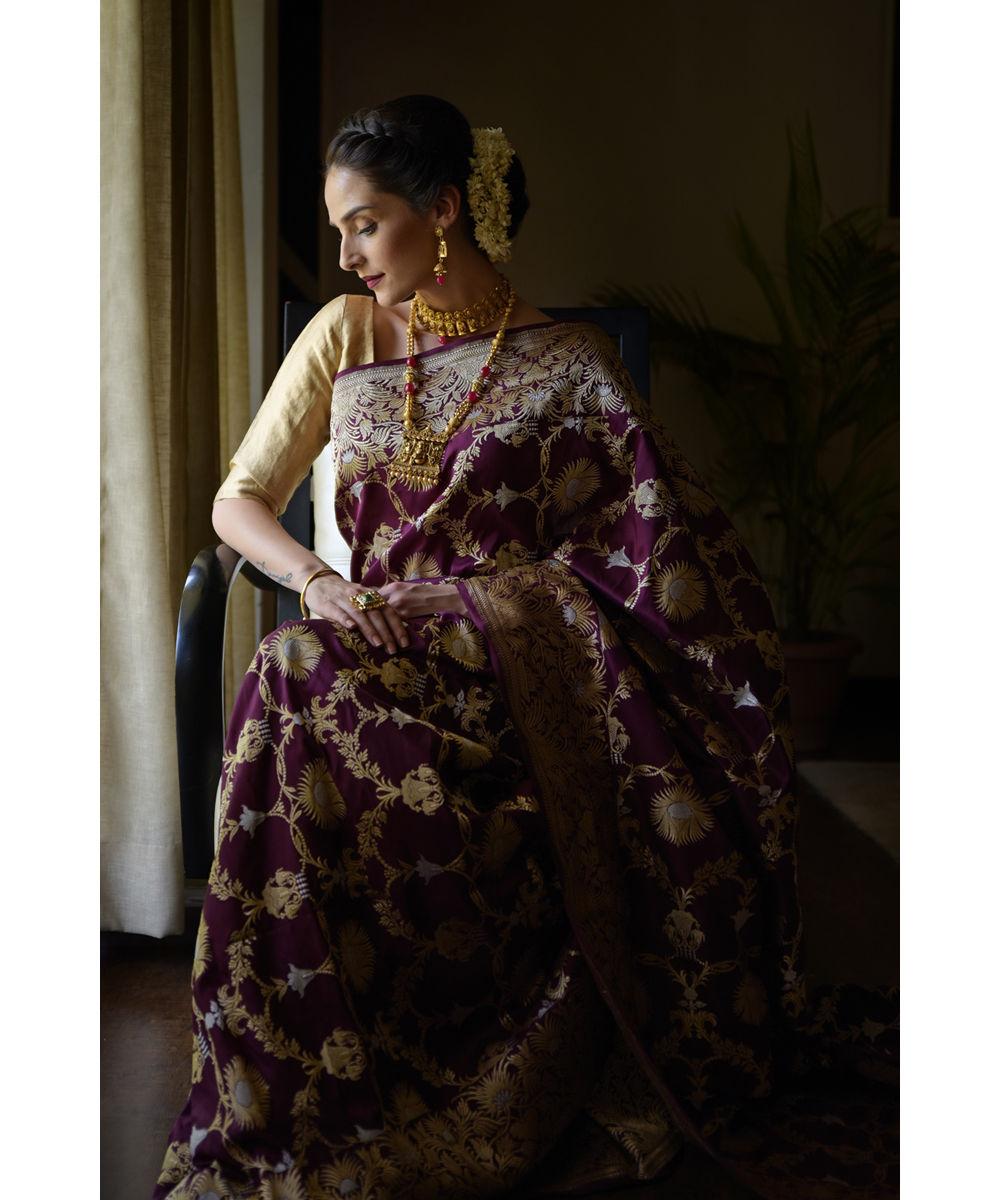 Www Banarasisareeinnepal: Plum Sona Roopa Banarasi Zari Handwoven Pure Silk Saree