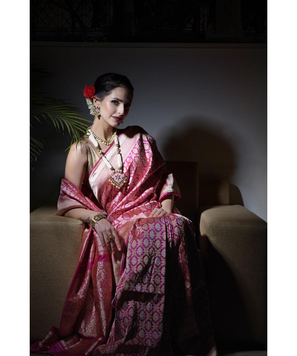 Www Banarasisareeinnepal: Rani Pink Sona Roopa Banarasi Zari Handwoven Pure Silk Saree