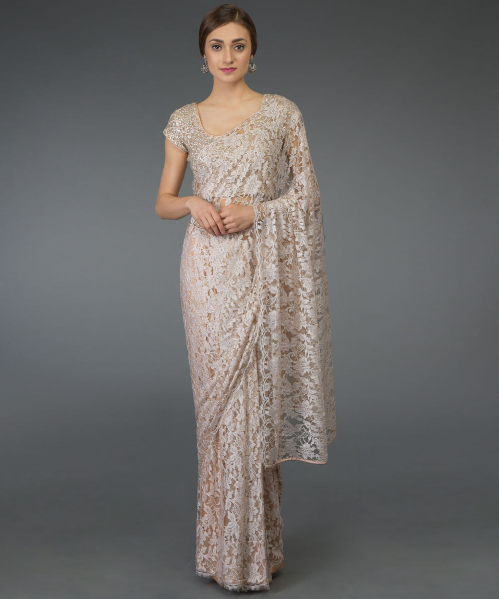 Nude Peach French Chantilly Lace Saree with Zardozi Work Blouse e223593a0