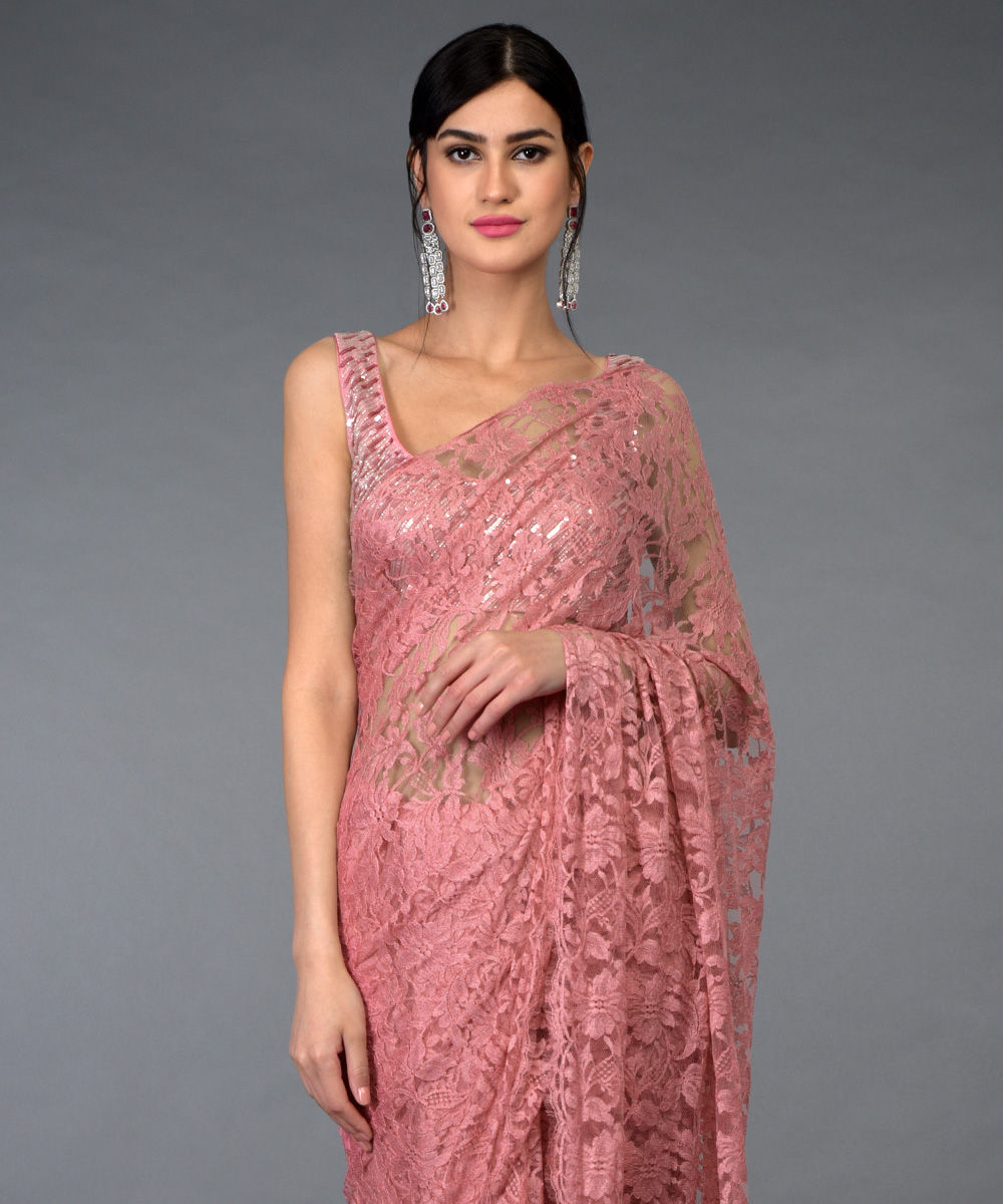 0d496ba406101 Pressed Rose French Chantilly Lace Saree With Hand Embroidered Blouse ·  Pressed Rose French Chantilly ...