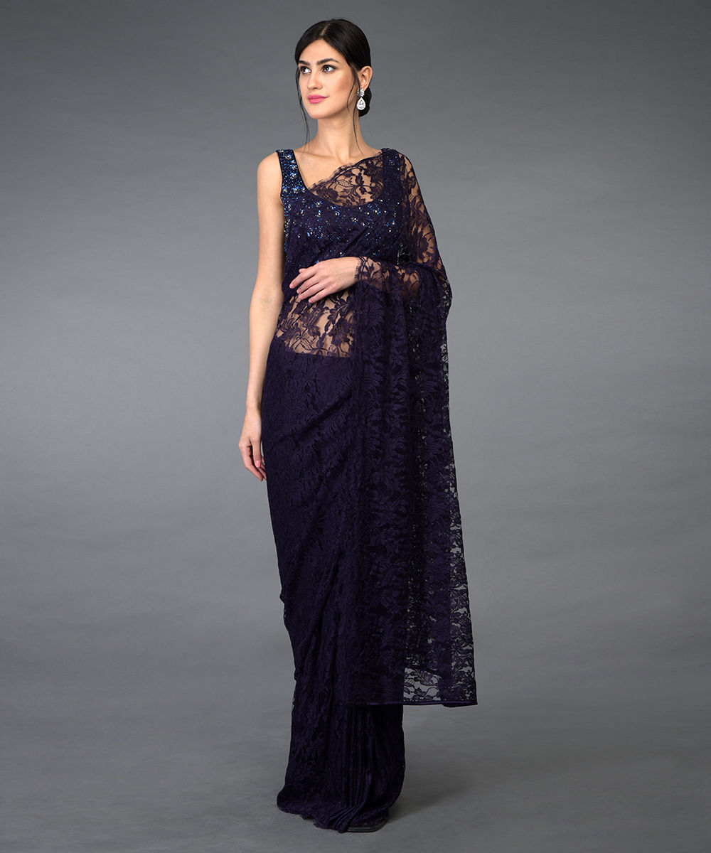 14d9c4251779e Eclipse Blue French Chantilly Lace Saree With Hand Embroidered ...