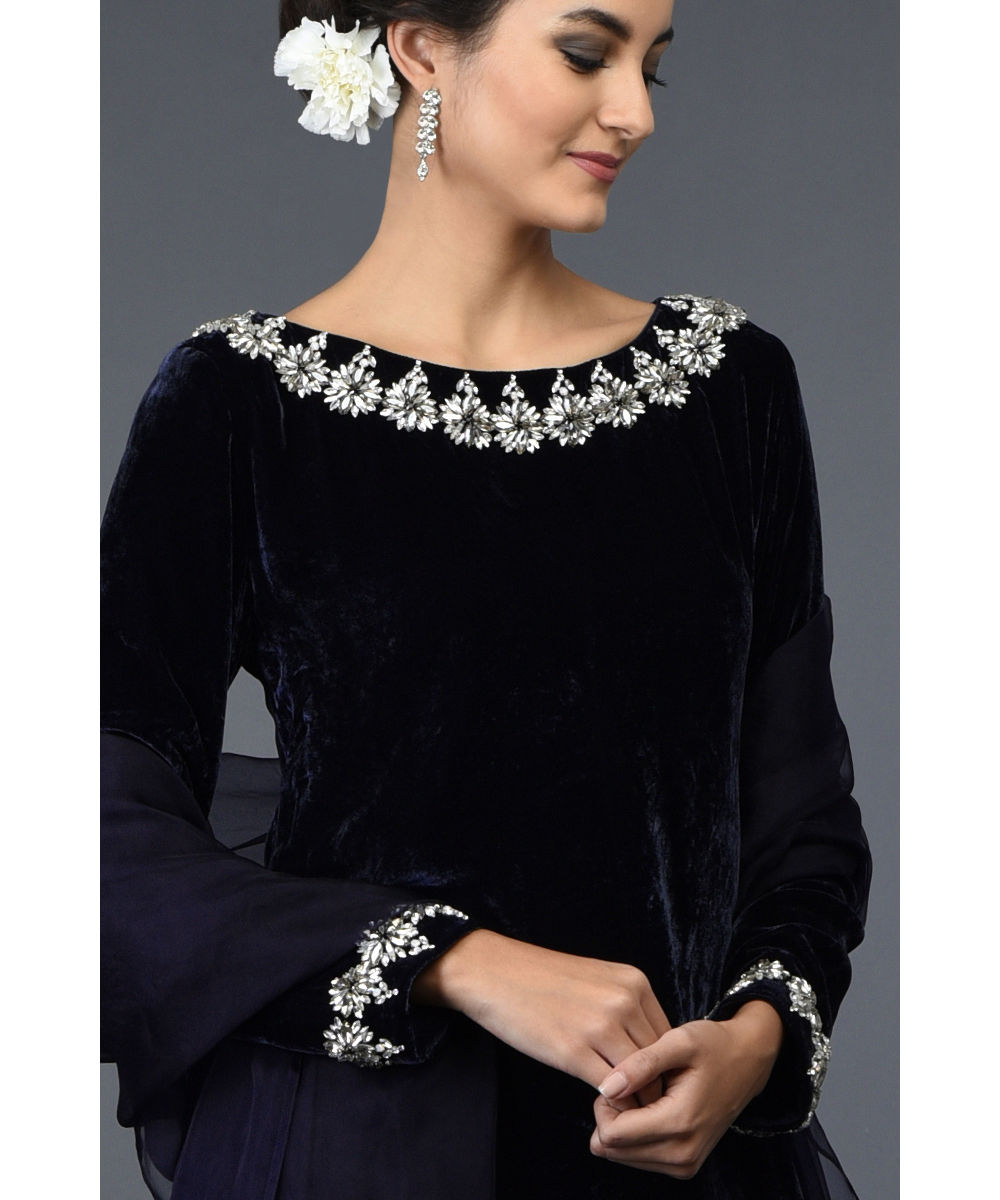 Midnight Blue Crystal Hand Embroidered Silk Velvet Suit