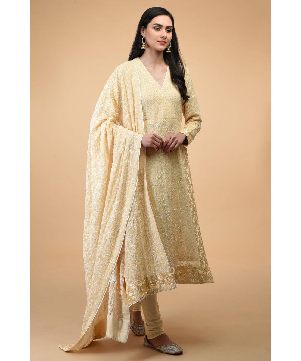 Handcrafted Chikankari Colored Pants  Salwar