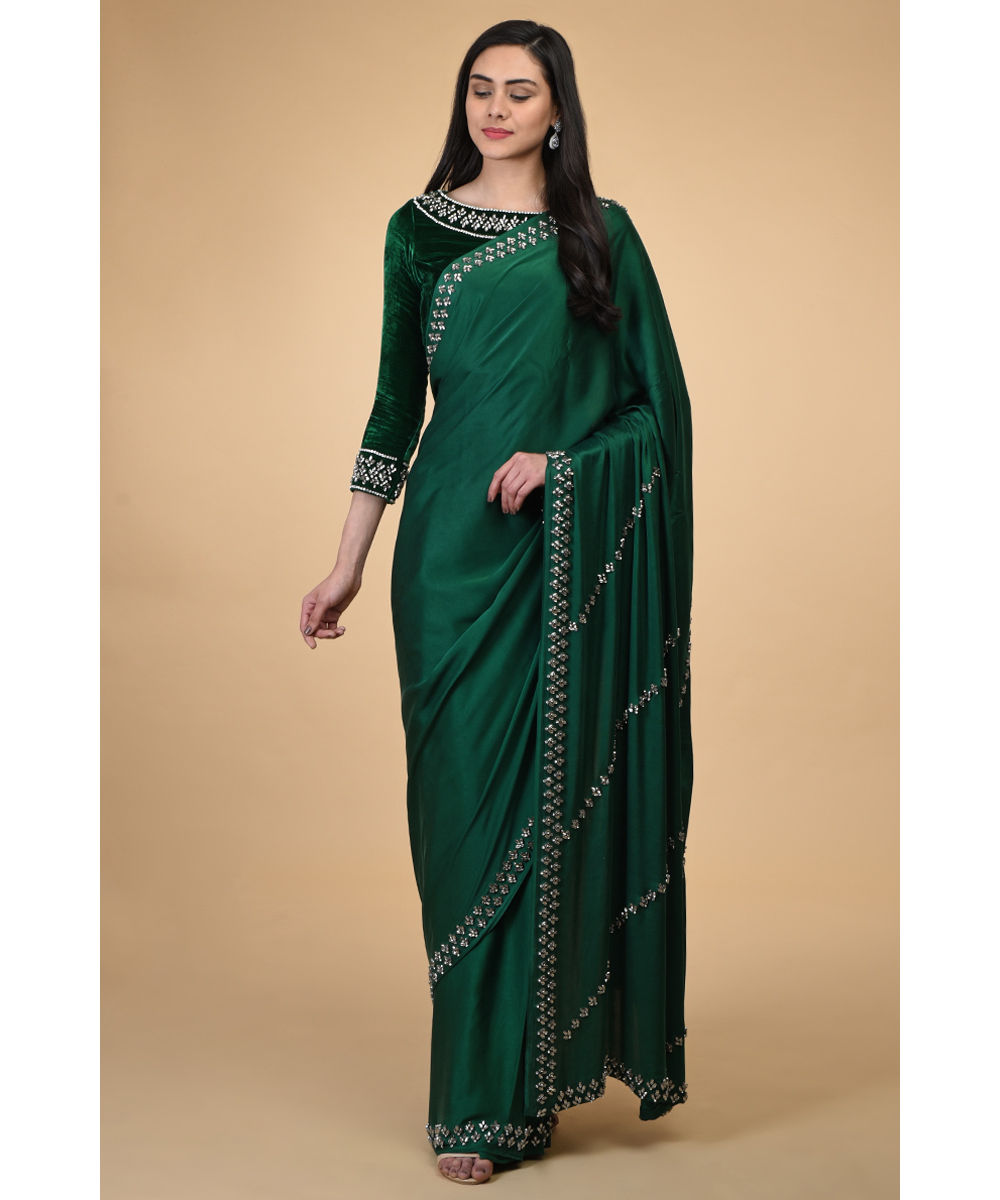 Emerald Green Crystal Hand Embroidered Saree Blouse