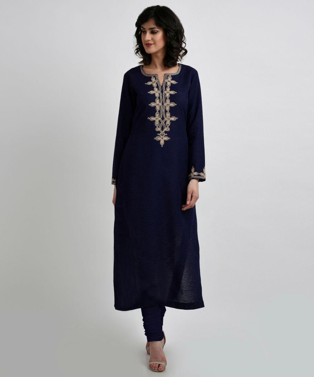 a611507667 Navy Blue Linen-Cotton Kurta with Rose Gold Dori Embroidery. Navy Blue Linen -Cotton Kurta with Rose Gold Dori ...
