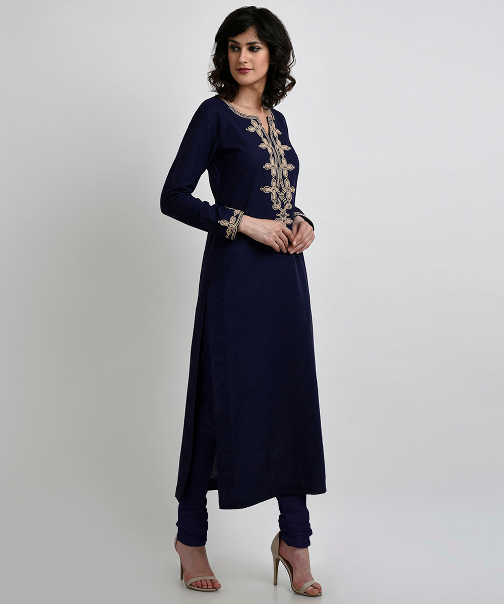 c9872c525f Navy Blue Linen-Cotton Kurta with Rose Gold Dori Embroidery