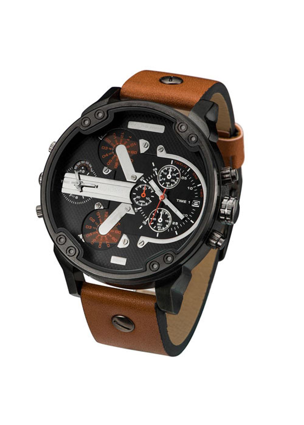 Cagarny big dial 6820 black tan analog dual time watch for men ca 6820 blk tan for Black tan watch